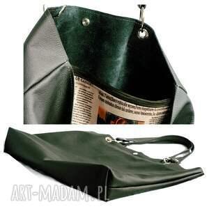 na ramię skórzana torbiszcze zielone z wkładem