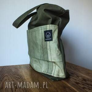 zielone na ramię ekologiczna torebka canvas khaki