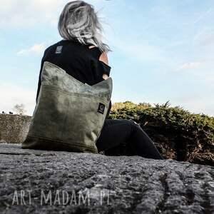 zielone na ramię torba torebka canvas khaki farbowana