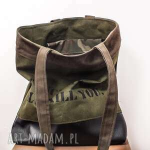 hand-made na ramię prezent torebka canvas khaki crushed