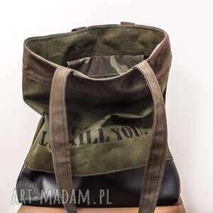 ręcznie robione na ramię prezent torebka canvas khaki crushed