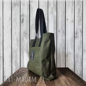 zielone na ramię khaki torebka canvas hard