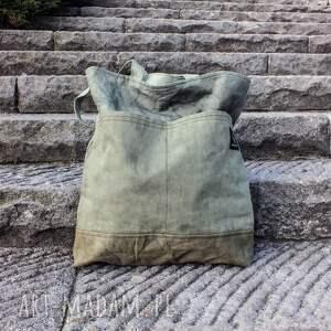 na ramię torba torebka canvas khaki farbowana