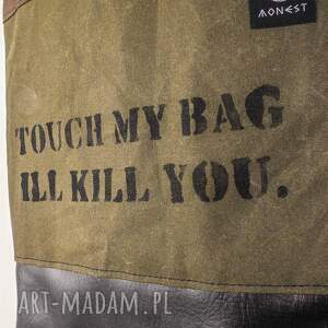 hand-made na ramię wytrzymała torebka canvas khaki crushed