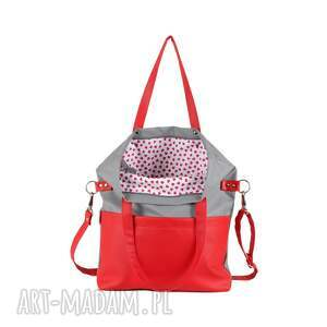 czerwone na ramię torebka-damska torebka damska cube szara z nutką