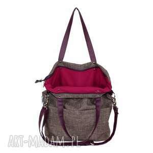 torebka-damska na ramię fioletowe torebka damska cube z nutką śliwki