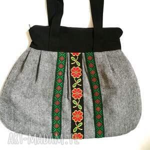 na ramię szara torebka damska retro handmade