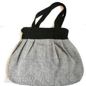 wyraziste na ramię torebka damska retro szara handmade -styl boho