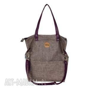 brązowe na ramię torba-z-kieszonkami torebka damska cube z nutką śliwki