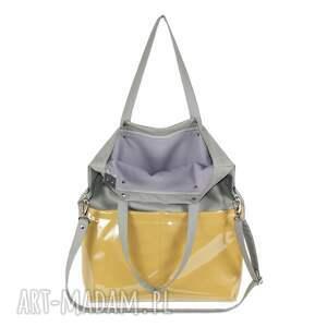 żółte na ramię torebka damska cube jasno szara