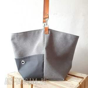 szare na ramię skórzany pasek torebka na ramie w stylu