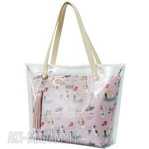 różowe na ramię foliowa torebka delise 2w1 1081 buldogi