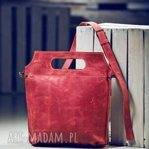 czerwone na ramię torba skórzana torebka dwukolorowa
