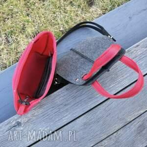 czerwone na ramię organizer torebka filcowa wąska