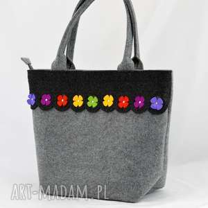 szare na ramię kwiatki torebka filcowa - kuferek