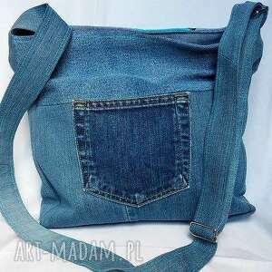 hand made na ramię torba torebka jeans. turkusowy patchwork