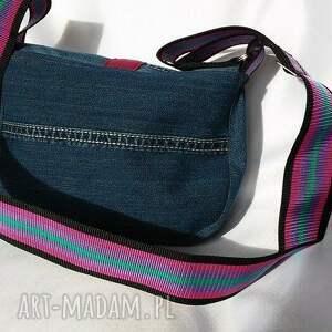 niebieskie na ramię jeans torebka jeansowa z szerokim