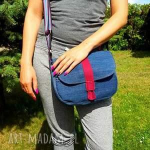 atrakcyjne na ramię modna torebka jeansowa z szerokim