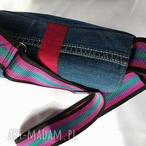torebka na ramię turkusowe jeansowa z szerokim