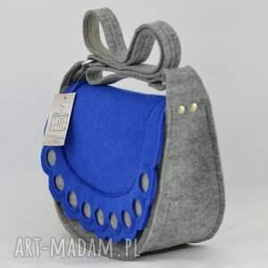chabrowa na ramię torebka listonoszka z niebieską