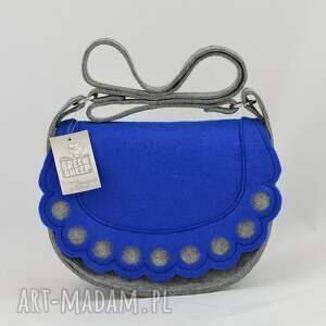 wyjątkowe na ramię filc torebka listonoszka z niebieską