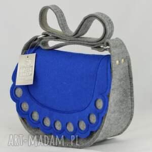 niebieskie na ramię filc torebka listonoszka z niebieską