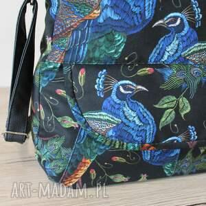 niebieskie na ramię nowoczesna torebka listonoszka - pawie