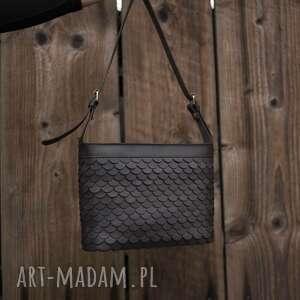 handmade na ramię torebka skórzana łuska duża