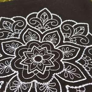 czarne na ramię torebka mandala