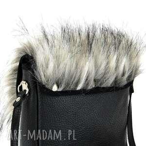 czarne na ramię futrzana torebka mini puro 847 fur 4