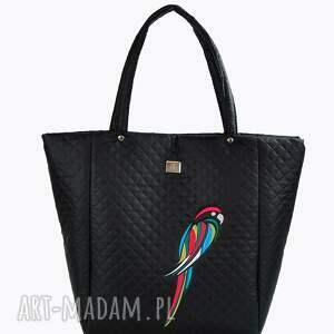 hand made na ramię pikowana torebka papuga 107