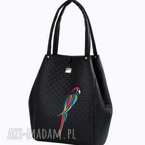 na ramię elegancja torebka pikowana papuga 107