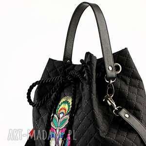 na ramię haftowana torebka pikowana folk winter 431