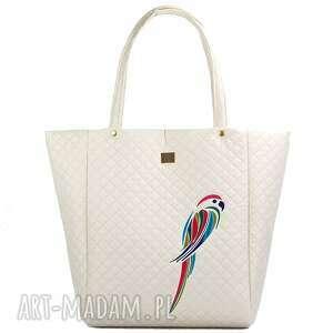 na ramię papuga torebka pikowana 229 kremowa