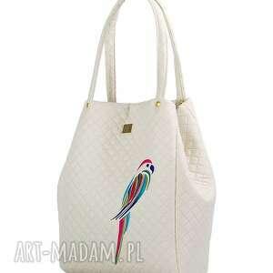 ręcznie zrobione na ramię pikówka torebka pikowana papuga 229 kremowa