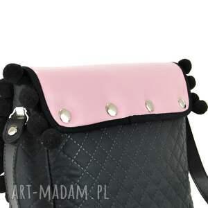czarne na ramię wymienne torebka puro 838 pink pompons
