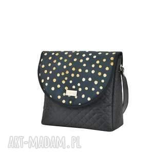 awangardowe na ramię pikowana torebka puro 1502 black dots