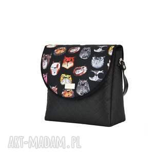 ręcznie robione na ramię pikowana torebka puro 1745 black cats