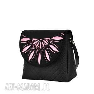handmade na ramię pikowana torebka puro 794 pink cutout