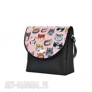 ciekawe na ramię pojemna torebka puro 1746 pink cats