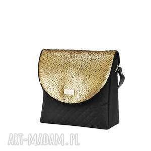 atrakcyjne na ramię polska-marka torebka puro 1492 sequins dark gold