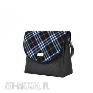 na ramię praktyczna torebka puro 1266 blue grid