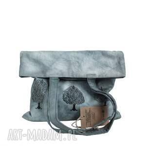 szare na ramię malowana torebka ręcznie farbowana