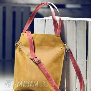 żółte na ramię torebka skórzana ręcznie robiona