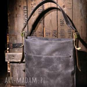 szare na ramię torba skórzana torebka ręcznie robiona