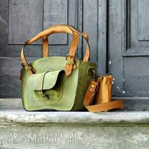duża na ramię zielone torebka skórzana torba z kopertówką