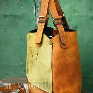 torba skórzana na ramię zielone torebka