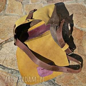 żółte na ramię torba skórzana torebka ręcznie robiona
