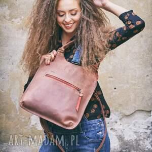 Ladybuq Art Studio hand made na ramię skórzana torba torebka w kolorze ceglanym