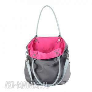 różowe na ramię worek torebka szara z szarobłękitnymi